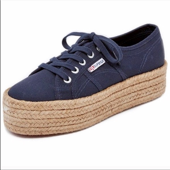 f41db79dadb Superga Navy Blue Espadrille Platform Sneakers. M 5b80baa5f3036905df5fe031